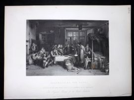After David Wilkie C1870 Antique Print. Distraining for Rent